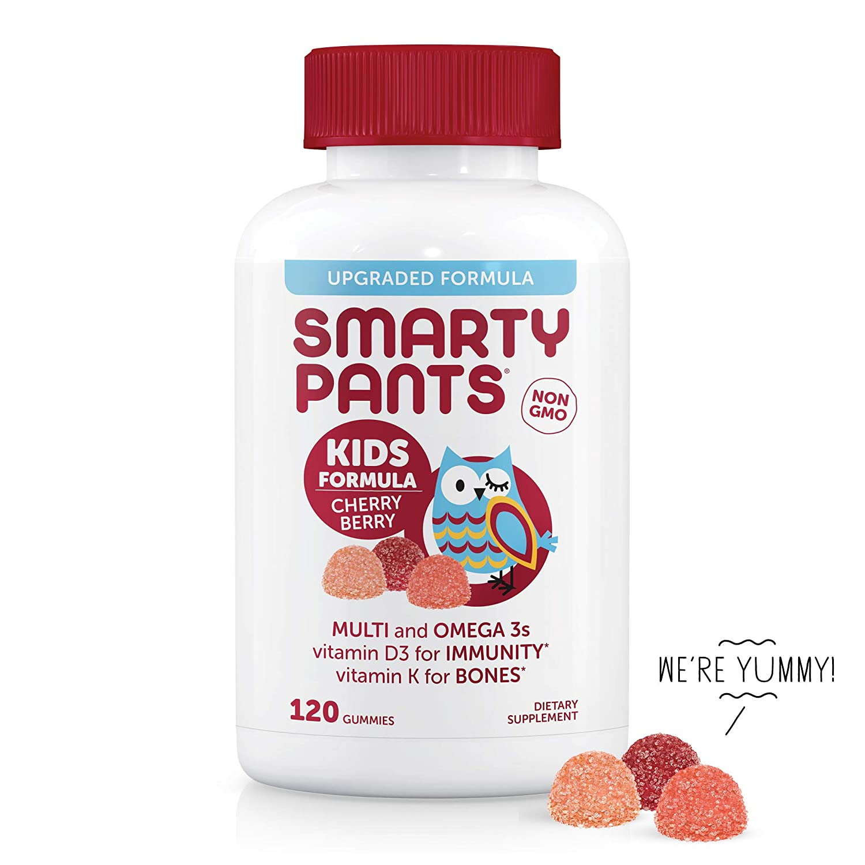 SmartyPants キッズコンプリート マルチビタミン オメガ3フィッシュオイル ビタミンD3とB12 チェリー?ベリー グミ120個