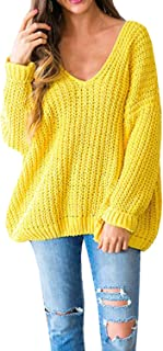 LAICIGO Womens Chunky Deep V Neck Batwing Sleeve Open Back Knit Sweaters Sexy Pullover