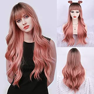 FORCUTEU Ombre Pink Wig with Bangs Long Wavy Pink Wigs for Women Pink Synthetic Wig Long Pink Wave Heat Resistant Hair Wig...