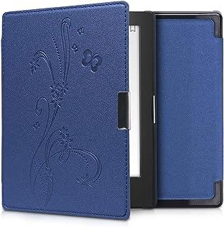 kwmobile hoes compatibel met Kobo Aura Edition 1 - Case voor e-reader in donkerblauw - Stengels en Vlinder