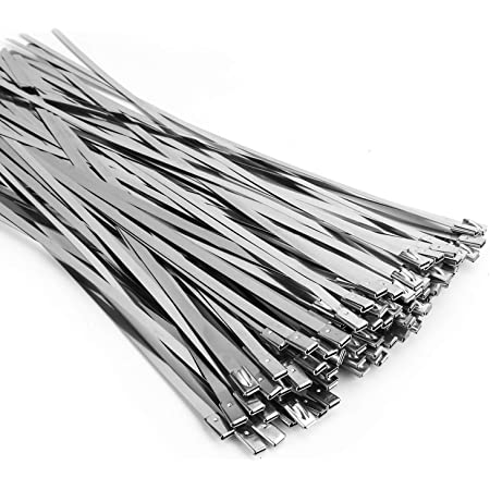 100mmx7.9mm Stainless Steel Cable Zip Ties Metal Exhaust Wrap 10pcs