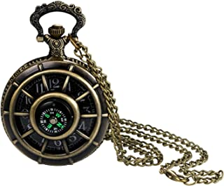 Fashion Personalized Digital Dial Hollow Compass Case Quartz Pocket Watch