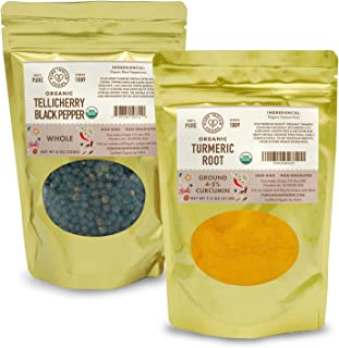 Organic High-Curcumin Turmeric Powder & Organic Tellicherry Whole Black Peppercorns
