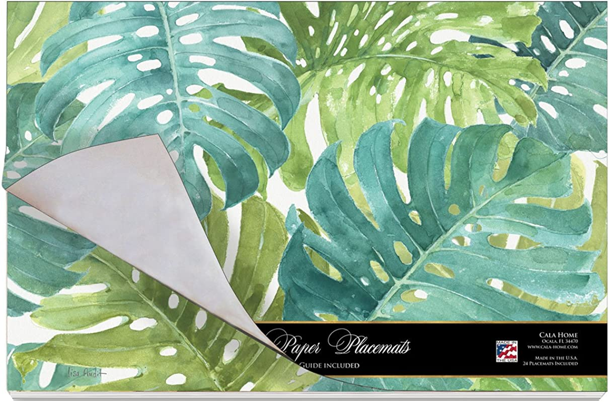 Cala Home 24 Pack Disposable Paper Placemats Tropical Green