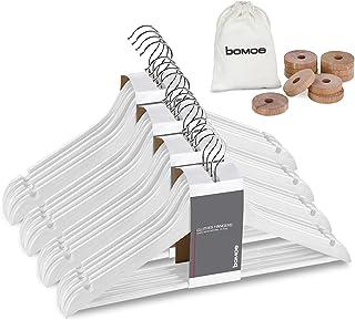 bomoe Cintres Bois Blanc - Lot de 20 Cintres Bois Adulte certifiés FSC®, pivotant de 360°, Barre en Bois antiglisse avec e...
