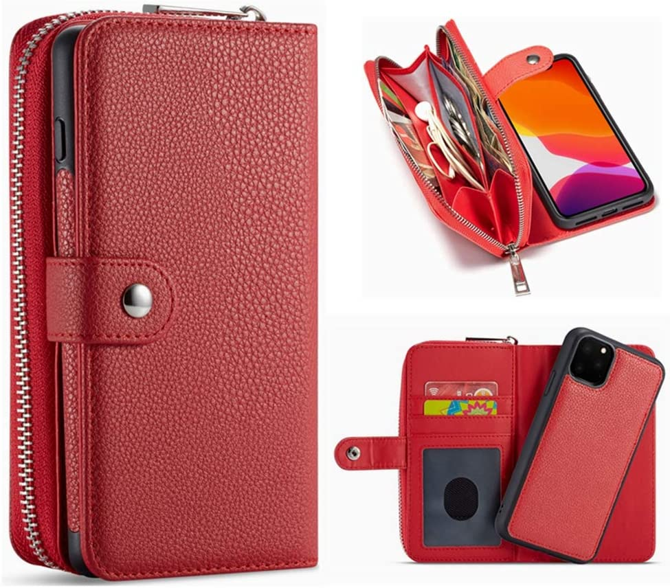 Galaxy S10 Detachable Wallet Case,Hynice Leather Zipper Purse for Women Magnetic Removable Silm Cover with Strap Credit Holder Cash Pocket for Samsung Galaxy S10 6.1 inch(Lichi-Red, S10)