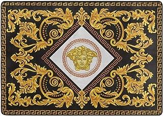 Versaced Gold Silver Greek Luxury Soft Indoor Area Rugs Anti-Skid Home Bedroom Carpet Floor Mat 80 X 58 in