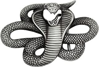 Q&Q Fashion Men Vintage Silver Egyptian 3D Snake Viper Cobra Python Biker Rocker Belt Buckle