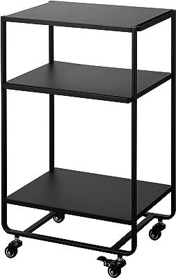 YAMAZAKI home 3-Tier Rolling Storage Utility Cart|Kitchen/Bathroom, One Size, Black