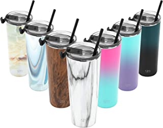 Simple Modern 24oz Classic Tumbler Travel Mug with Clear Flip Lid & Straw - Coffee Vacuum Insulated Gift for Men and Women Beer Pint Cup - 18/8 Stainless Steel Water Bottle Pattern: Carrara Marble