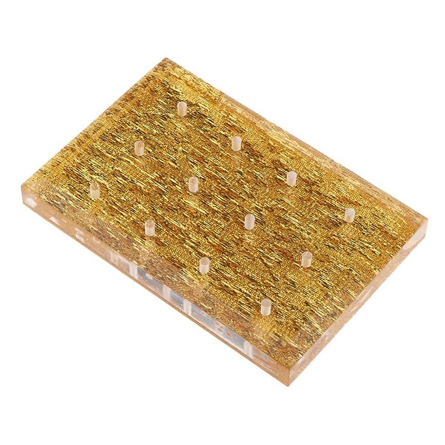 つかまえるシェルター厚くするB Blesiya ネイルドリルビットホルダー 収納オーガナイザー アクリル スタンド プロ ネイルアート 2色選べ - ゴールド