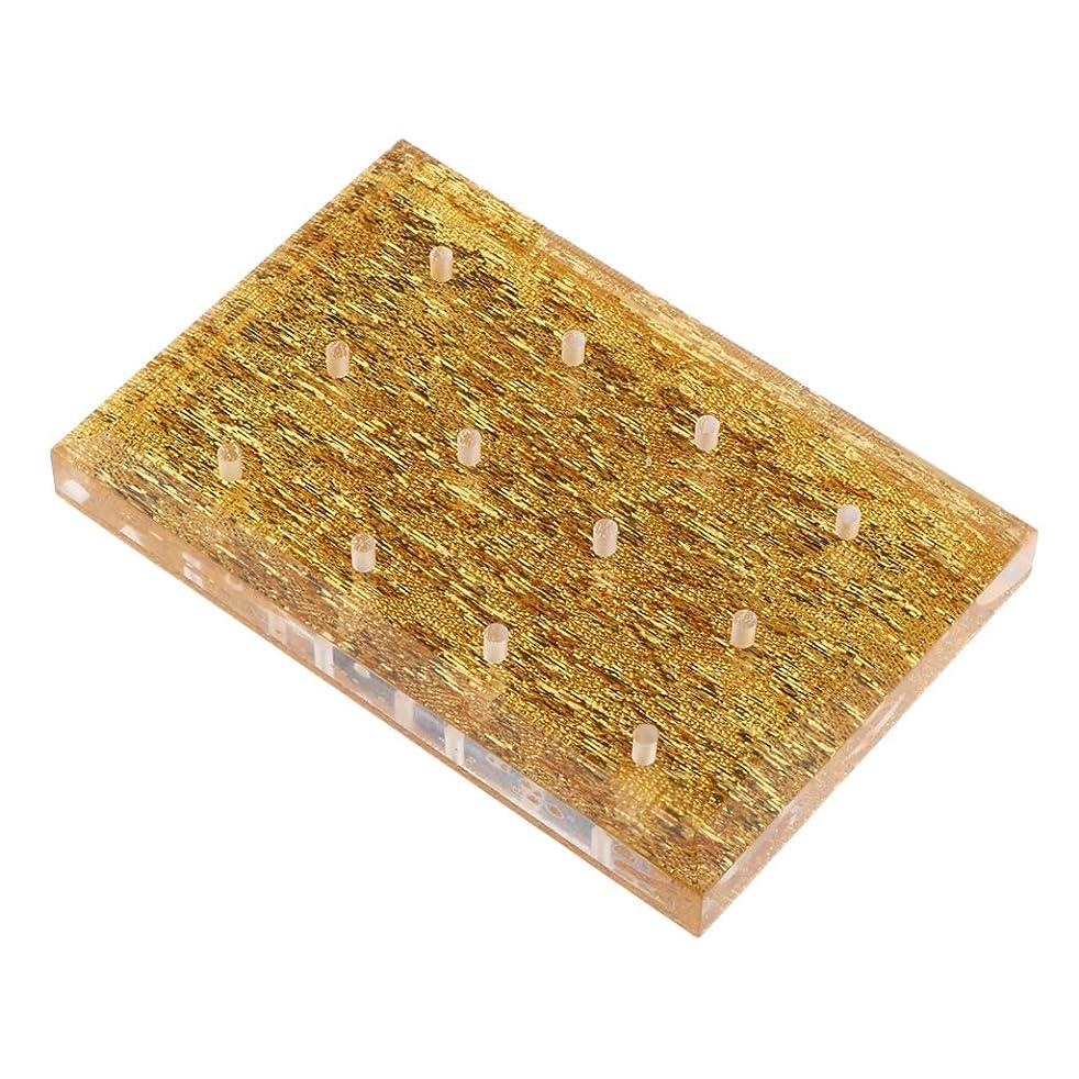 学校辞書想像力豊かなB Blesiya ネイルドリルビットホルダー 収納オーガナイザー アクリル スタンド プロ ネイルアート 2色選べ - ゴールド