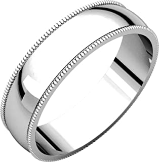 Men's and Women's 14k White Gold, 5mm Wide, Milgrain, Plain Wedding Band