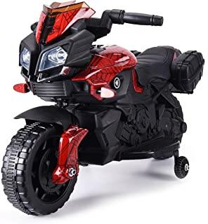 JAXPETY Kids Ride On Motorcycle 6V Toy Battery Powered Electric 4 Wheel Power Bicyle New (Lacquer Red- Spider Man)