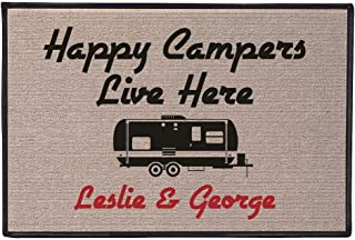 WHAT ON EARTH Personalized Happy Campers Doormat - Durable 100% Olefin Welcome Mat for Trailer or RV - 27