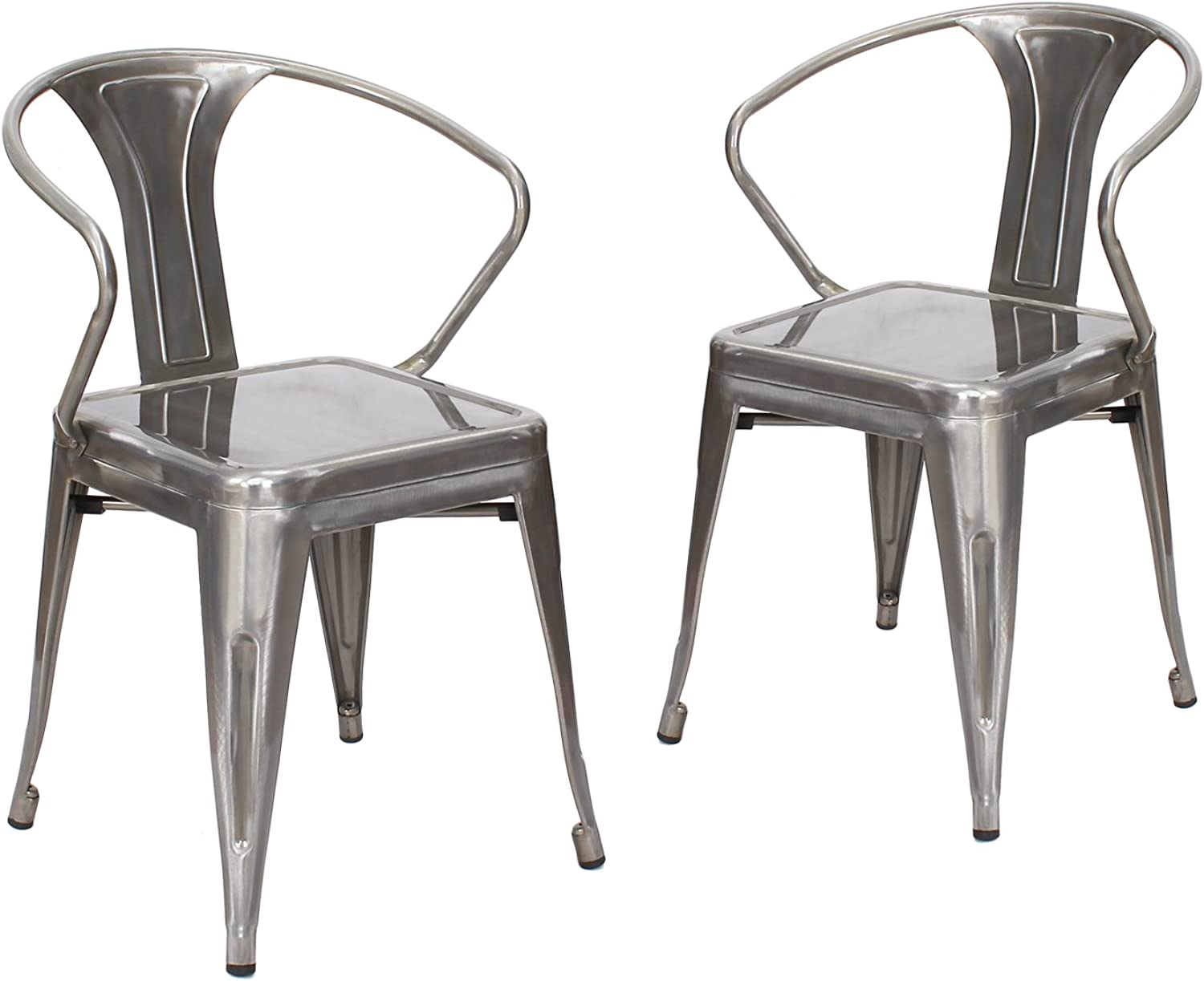 Adeco CH0219-2 Metal Stackable Curve Armrest Chair