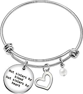 Bracciale rigido per migliore amica/sorella, perfetto come regalo di laurea, di matrimonio o di anniversario, con perla, c...
