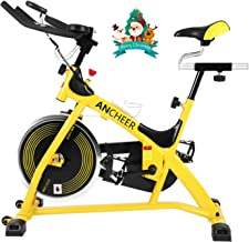 ANCHEER Indoor Cycling Stationary Bike, 40 LBS Flywheel Silent Belt Drive Home Exercise Bike with Pulse & Elbow Tray & Comfortable Seat & LCD Display for Home Cardio Workout Bike Training