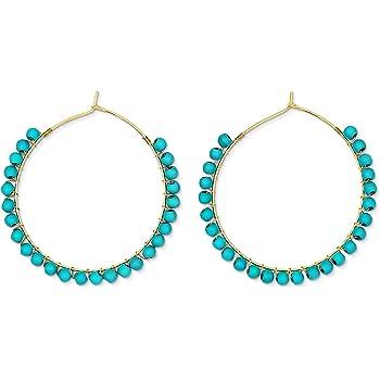 Turquoise Earrings | Natural Stone Hoop Earrings for Women Medium Hoop Earrings Gold Hoop Earrings for Women Gold Hoops Earrings for Women
