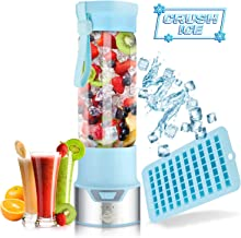 Portable Smoothie Blender for Shakes and Smoothies - Blend Ice Easy with Powerful 12V Jet Motor - Personal, Single Serve Bottle - Fruit Juicer with 6000 mAh USB Rechargeable Battery - 15.2 Ounce Blue