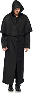 Black Hooded Button Front Adult Costume Cloak