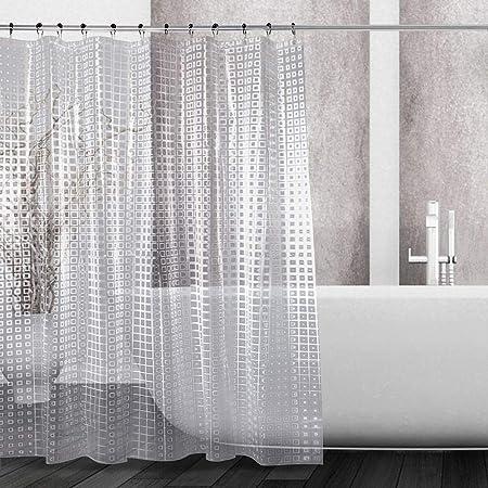 180*180CM Bathroom Transparent Shower Curtains 12 Plastic Hooks Waterproof Clear