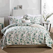 Green Leaf Pattern Bedspread with 2 Pillowcases Quilted Quilt Blanket Coverlet Bed Cover, Green, Queen