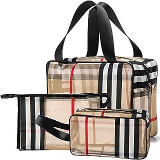 3pcs PVC Stripe Cosmetic Bag Toiletry Bags Makeup Bag Cosmetic Organizer Waterproof Zipper Multifunctional Transparent Tra...
