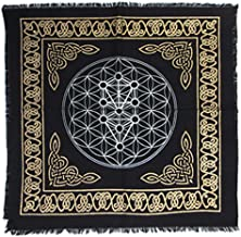 "Anya Nana New Kabbalah Tree of Life Altar Cloth 18"" Gold and Black Metallic Fringed Cotton AN2182"