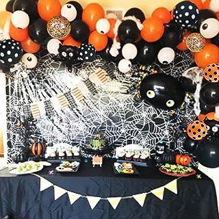 120 PCS Halloween Balloon Arch Garland Kit, Black Orange Confetti Balloons with Mylar Spider Balloon for Kids Halloween Th...
