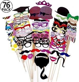 Foonii - 76Palitos Manualidades, con Formas de Gafas, Bigote, Labios, Pajarita, Sombrero; para Fotos de Bodas, navidades, cumpleaños, Otras Fiestas