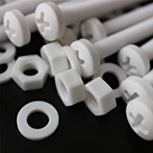 20 x White Philips Pan Head Screws Polypropylene (PP) Plastic Nuts and Bolts, Washers, M6 x 60mm, Acrylic, Water Resistant, Anti-Corrosion, Chemical Resistant, 15/64