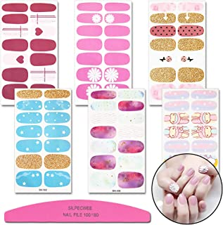 SILPECWEE 6 Sheets Flower Design Nail Polish Wraps Stickers Strips Kit And 1Pc Nail File Cartoon Adhesive Manicure Decals Tips
