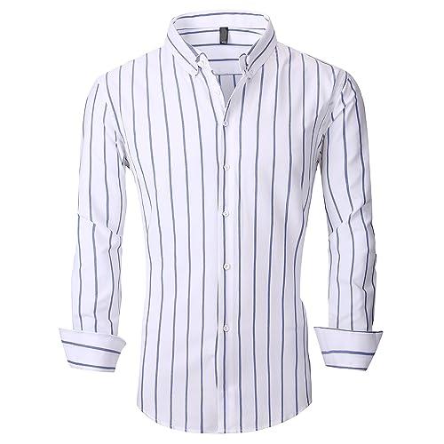 7518423cbf62 XTAPAN Men's Long Sleeve Casual Slim Fit Vertical Striped Button Down Dress  Shirt