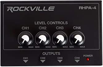 Rockville RHPA4 4 Channel Professional Headphone Amplifier Stereo or Mono Amp, Black