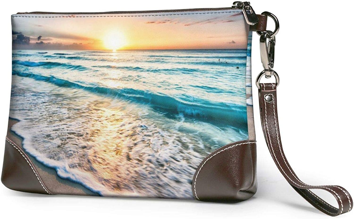 Super Special SALE held Beach Sunset Ocean Waves Clutch Leather Charlotte Mall Wristlet Purses W