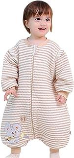 FEOYA Baby Schläfsack Winter Hund mit Füßen Baumwolle Junge Mädchen ganzjahres Schlafanzug Neugeborene Pyjama/Overall/Strampler Braun