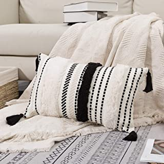 Best blue page Morocco Tufted Boho Throw Pillow Covers 12X20 Inch - Lumbar Small Decorative Pillows Cover for Couch Sofa Bedroom Living Room, Rectangle Accent Pillow Case ONLY (Black Off White) Review