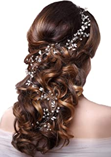 c8cb58c63 Ziory 1pc Golden Fashion Hand Made Headdress (50 cm) Crown Pearl Floral Hair  Accessories