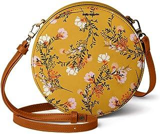DailyObjects Mustard Flowers Orbis Round Sling Crossbody Bag for girls and women | Vegan leather, Stylish, Sturdy, Zip clo...