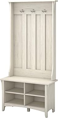 UNIVERSAL LTD Hall Tree with Storage Bench Shoe and Coat Rack in Antique White Entryway Storage Organizer Easy Assembly (Antique White)
