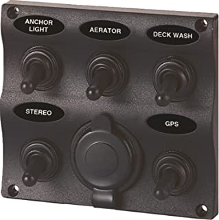 SeaSense Marine Splash-Proof 5-Gang Switch Panel with 12V Socket