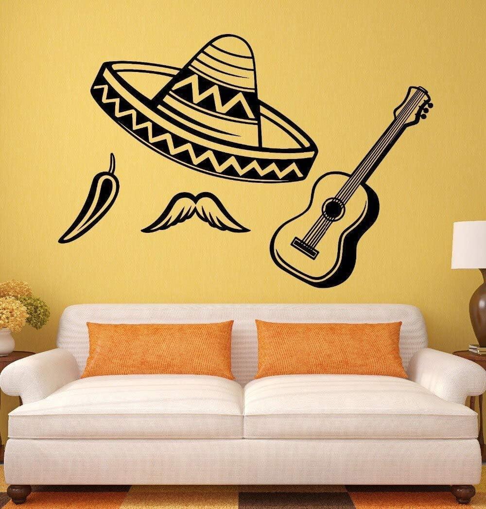 Cartel De Música Calcomanías De Decoración Extraíbles América Latina Sombrero Chili Guitarra Pegatinas De Vinilo Mural De Arte Fresco 62 * 42Cm