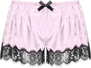 MuFeng Mens Shiny Satin Sissy Boxer Shorts Pajama Panties Floral Lace Trimming Pants Sleepwear