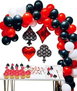 Casino Party Decoration Supplies Set: Casino Balloons,Black, Red,White Latex Balloon with Casino Confetti for Casino Theme Party,Las Vegas Themed Parties,Casino Night ,Poker Events