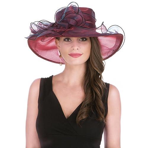 1db5397f829da Lucky Leaf Women Kentucky Derby Church Cap Wide Brim Summer Sun Hat for  Party Wedding (