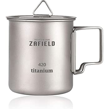ZAFIELD チタンカップ チタンマグ キャンプ用 マグカップ 蓋付き