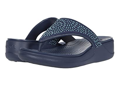 Crocs Monterey Diamante Wedge Flip (Navy) Women