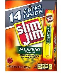 Slim Jim Snack-Sized Smoked Meat Stick, Jalapeño Flavor, 0.28 Oz. 14-Count