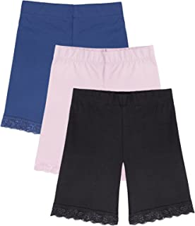 Girl's Bike Shorts (3-Pack) Underwear for Dresses, Certified Organic Cotton, Spandex, Tagless